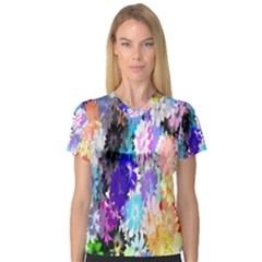 Flowers Colorful Drawing Oil Women s V-Neck Sport Mesh Tee