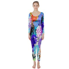 Flowers Colorful Drawing Oil Long Sleeve Catsuit