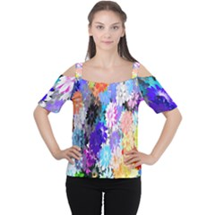 Flowers Colorful Drawing Oil Women s Cutout Shoulder Tee