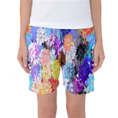 Flowers Colorful Drawing Oil Women s Basketball Shorts