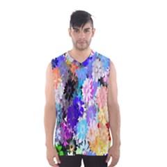 Flowers Colorful Drawing Oil Men s Basketball Tank Top