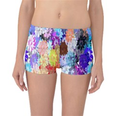 Flowers Colorful Drawing Oil Boyleg Bikini Bottoms