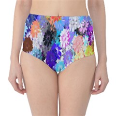 Flowers Colorful Drawing Oil High Waist Bikini Bottoms