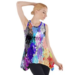 Flowers Colorful Drawing Oil Side Drop Tank Tunic