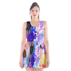 Flowers Colorful Drawing Oil Scoop Neck Skater Dress
