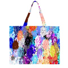 Flowers Colorful Drawing Oil Zipper Large Tote Bag