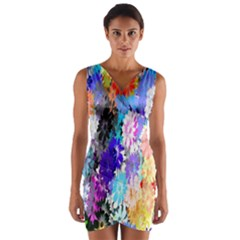 Flowers Colorful Drawing Oil Wrap Front Bodycon Dress
