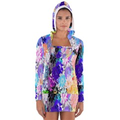 Flowers Colorful Drawing Oil Women s Long Sleeve Hooded T-shirt