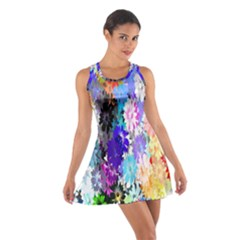 Flowers Colorful Drawing Oil Cotton Racerback Dress
