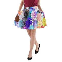 Flowers Colorful Drawing Oil A-Line Pocket Skirt