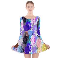 Flowers Colorful Drawing Oil Long Sleeve Velvet Skater Dress
