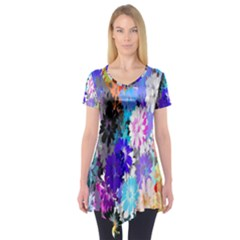 Flowers Colorful Drawing Oil Short Sleeve Tunic