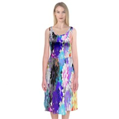 Flowers Colorful Drawing Oil Midi Sleeveless Dress