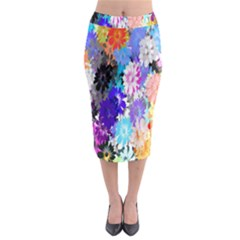 Flowers Colorful Drawing Oil Midi Pencil Skirt