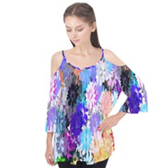 Flowers Colorful Drawing Oil Flutter Tees