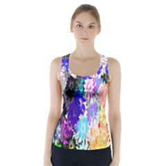 Flowers Colorful Drawing Oil Racer Back Sports Top