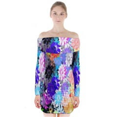 Flowers Colorful Drawing Oil Long Sleeve Off Shoulder Dress