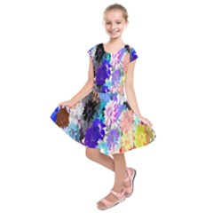 Flowers Colorful Drawing Oil Kids  Short Sleeve Dress