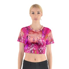Flowers Neon Stars Glow Pink Sakura Gerberas Sparkle Shine Daisies Bright Gerbera Butterflies Sunris Cotton Crop Top