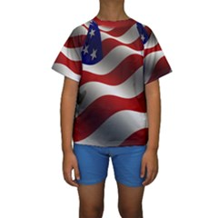 Flag United States Stars Stripes Symbol Kids  Short Sleeve Swimwear