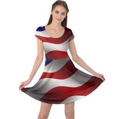 Flag United States Stars Stripes Symbol Cap Sleeve Dresses