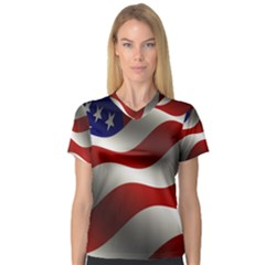 Flag United States Stars Stripes Symbol Women s V Neck Sport Mesh Tee