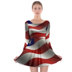Flag United States Stars Stripes Symbol Long Sleeve Skater Dress