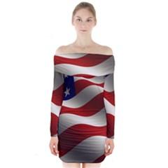 Flag United States Stars Stripes Symbol Long Sleeve Off Shoulder Dress