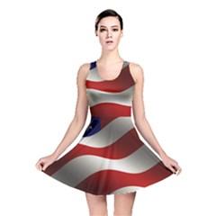 Flag United States Stars Stripes Symbol Reversible Skater Dress