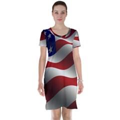 Flag United States Stars Stripes Symbol Short Sleeve Nightdress