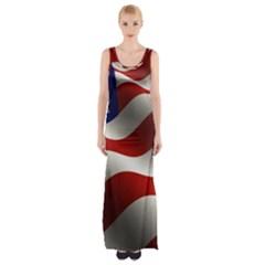 Flag United States Stars Stripes Symbol Maxi Thigh Split Dress
