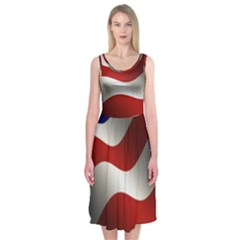 Flag United States Stars Stripes Symbol Midi Sleeveless Dress