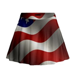Flag United States Stars Stripes Symbol Mini Flare Skirt