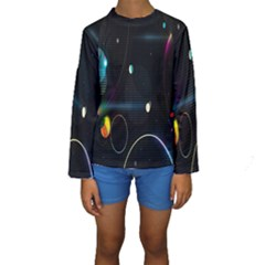 Glare Light Luster Circles Shapes Kids  Long Sleeve Swimwear