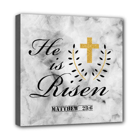 He is Risen Marble Mini Canvas 8  x 8  (Framed)