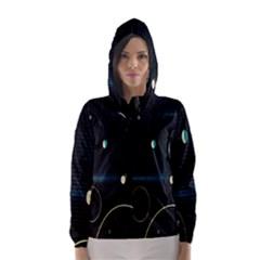 Glare Light Luster Circles Shapes Hooded Wind Breaker (women)
