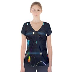 Glare Light Luster Circles Shapes Short Sleeve Front Detail Top