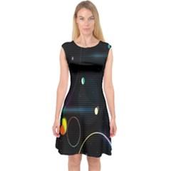 Glare Light Luster Circles Shapes Capsleeve Midi Dress