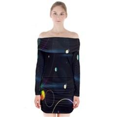 Glare Light Luster Circles Shapes Long Sleeve Off Shoulder Dress