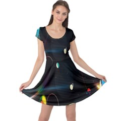 Glare Light Luster Circles Shapes Cap Sleeve Dresses