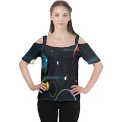 Glare Light Luster Circles Shapes Women s Cutout Shoulder Tee