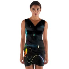 Glare Light Luster Circles Shapes Wrap Front Bodycon Dress