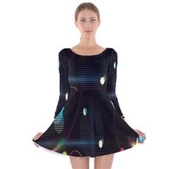 Glare Light Luster Circles Shapes Long Sleeve Velvet Skater Dress