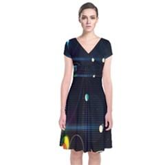 Glare Light Luster Circles Shapes Short Sleeve Front Wrap Dress