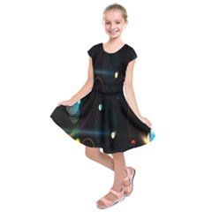 Glare Light Luster Circles Shapes Kids  Short Sleeve Dress