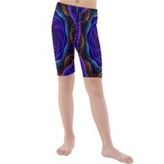 Flowers Dive Neon Light Patterns Kids  Mid Length Swim Shorts