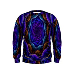 Flowers Dive Neon Light Patterns Kids  Sweatshirt