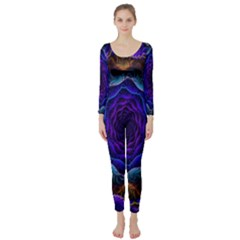 Flowers Dive Neon Light Patterns Long Sleeve Catsuit