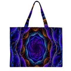 Flowers Dive Neon Light Patterns Large Tote Bag