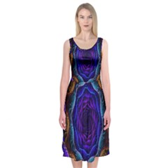 Flowers Dive Neon Light Patterns Midi Sleeveless Dress